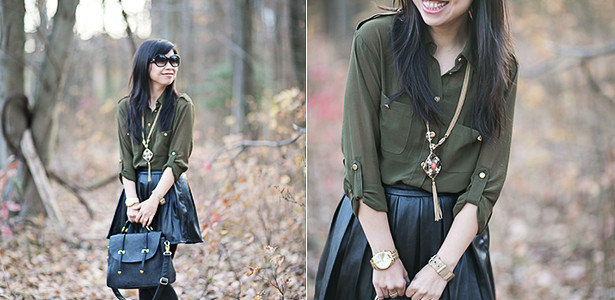 Earthy: Hunter Green & Pleather Skirt