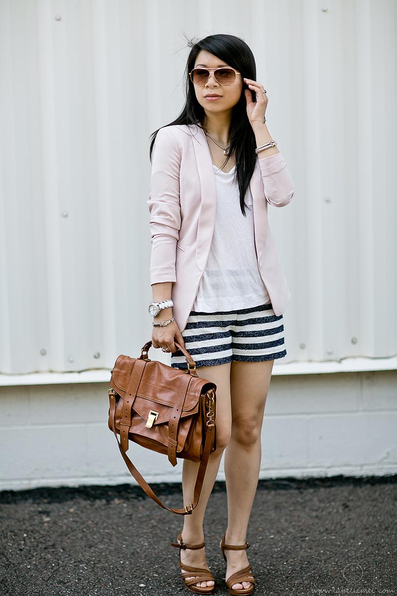 LaBelleMel_Pink Blazer & Striped Shorts_1