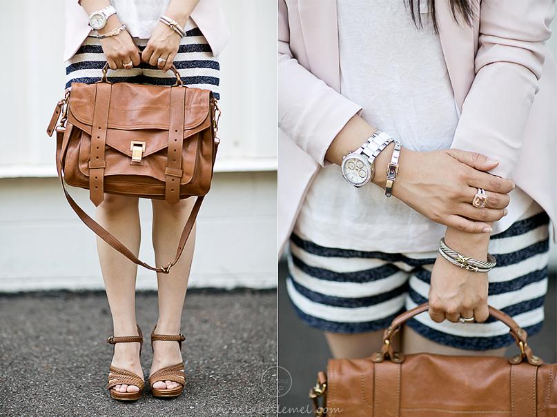 LaBelleMel_Pink Blazer & Striped Shorts_2
