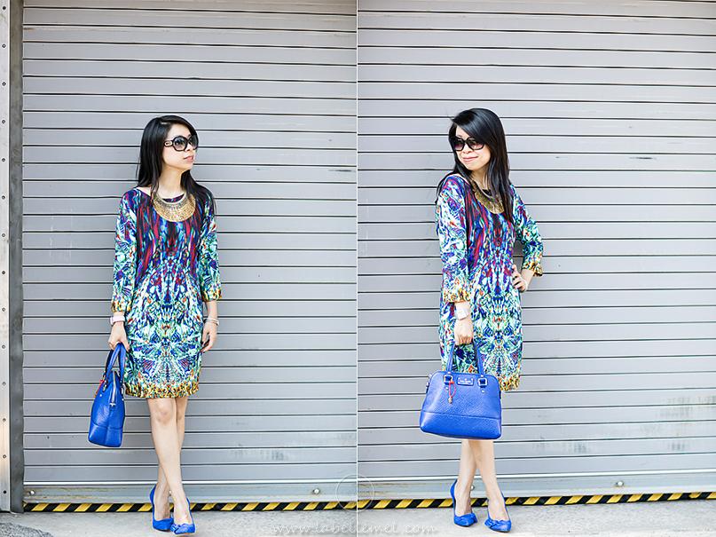 LaBelleMel-Feeling Blue-Printed Dress-ManRepeller-1