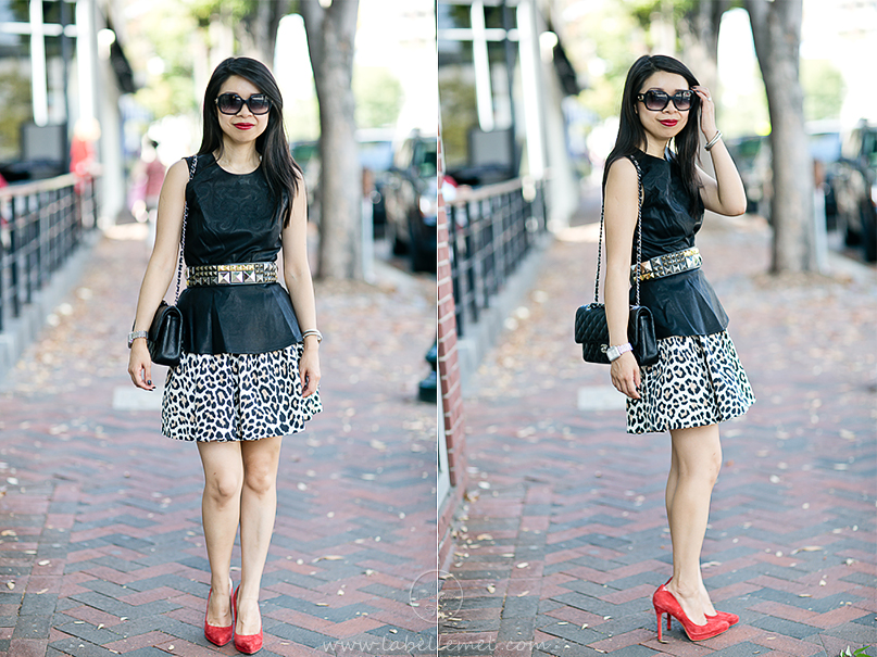 LaBelleMel-Pleather Peplum & Leopard Skirt-1