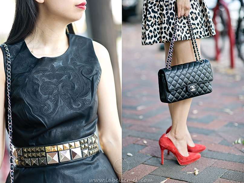 LaBelleMel-Pleather Peplum & Leopard Skirt-4