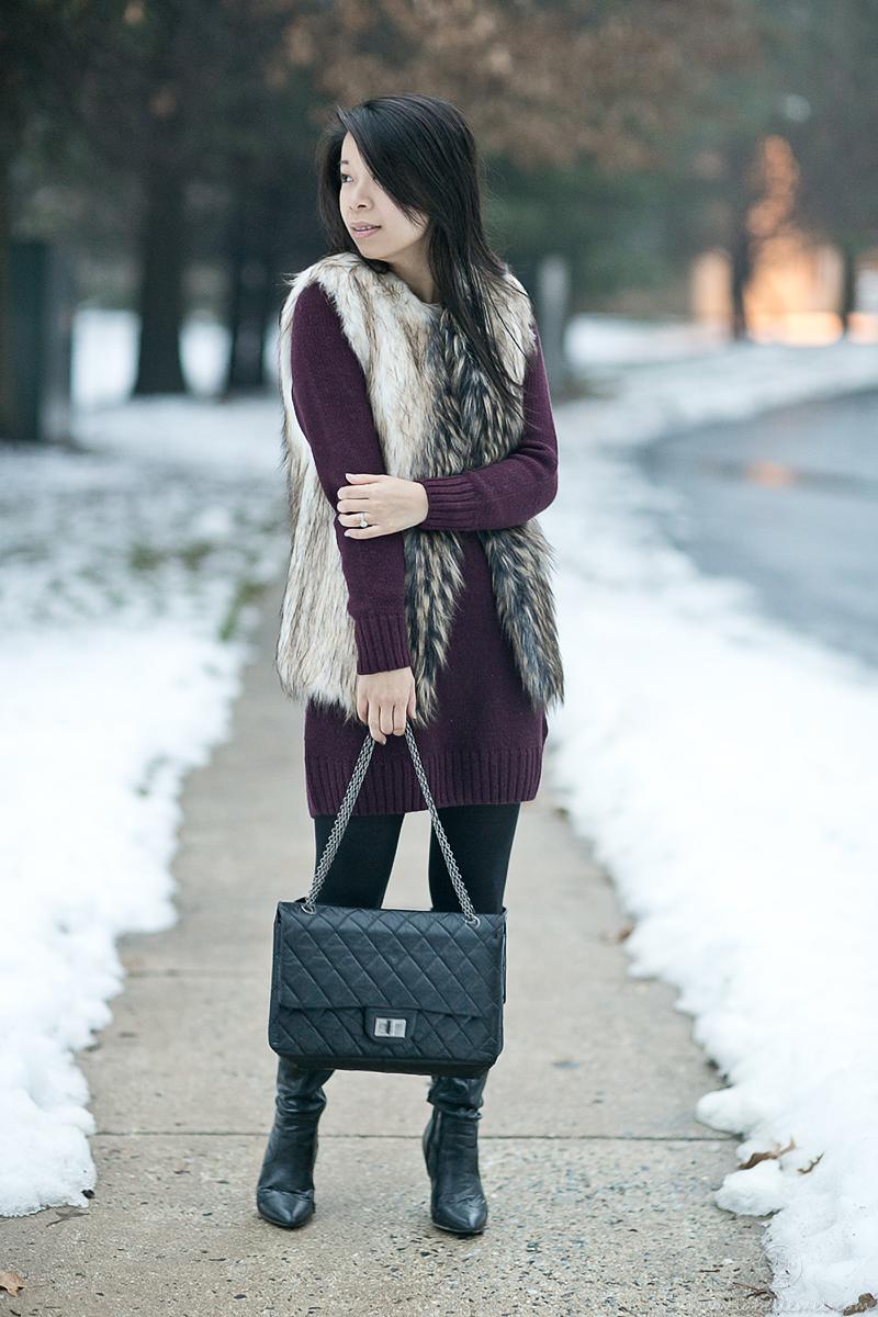 LaBelleMel_Burgundy_Dress_Faux_Fur_Vest_3