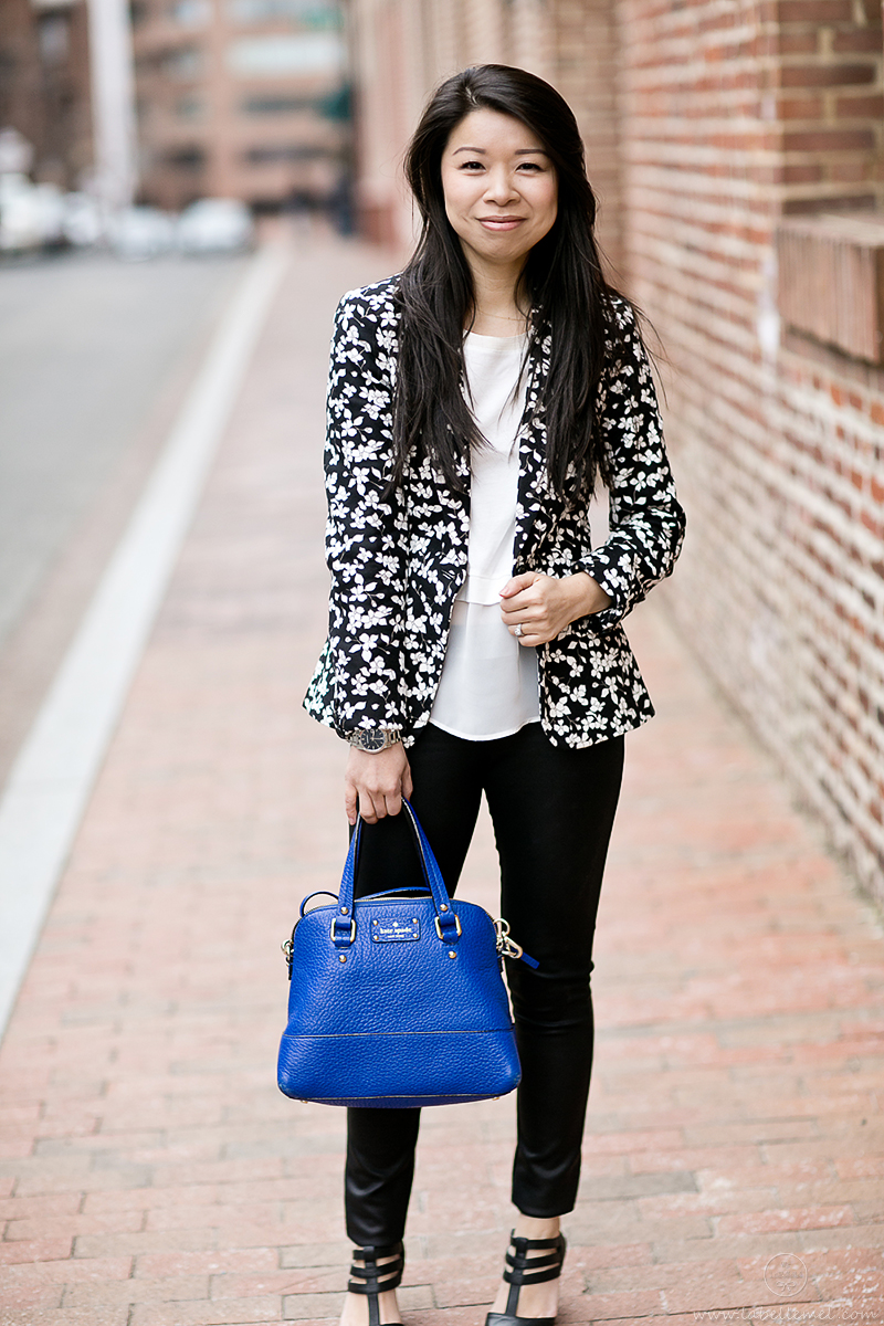 LaBelleMel-B&W-Printed-Floral-Blazer-Cut-out-Pumps-2