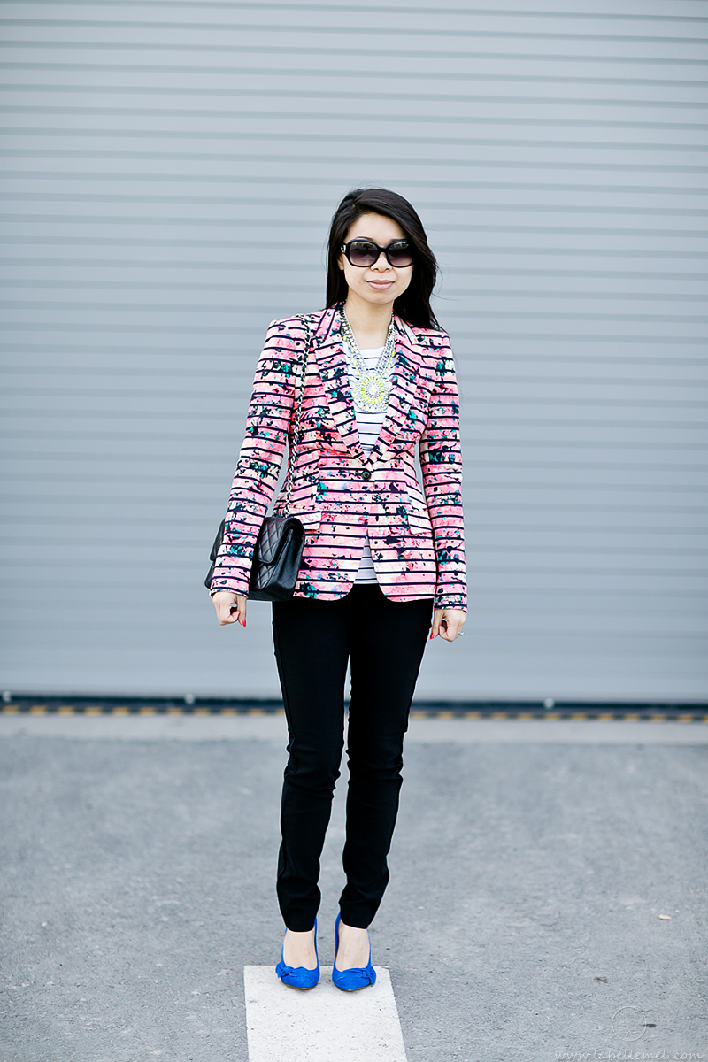 LaBelleMel-Mixing it Up --Abstract Floral & Striped Blazer-2