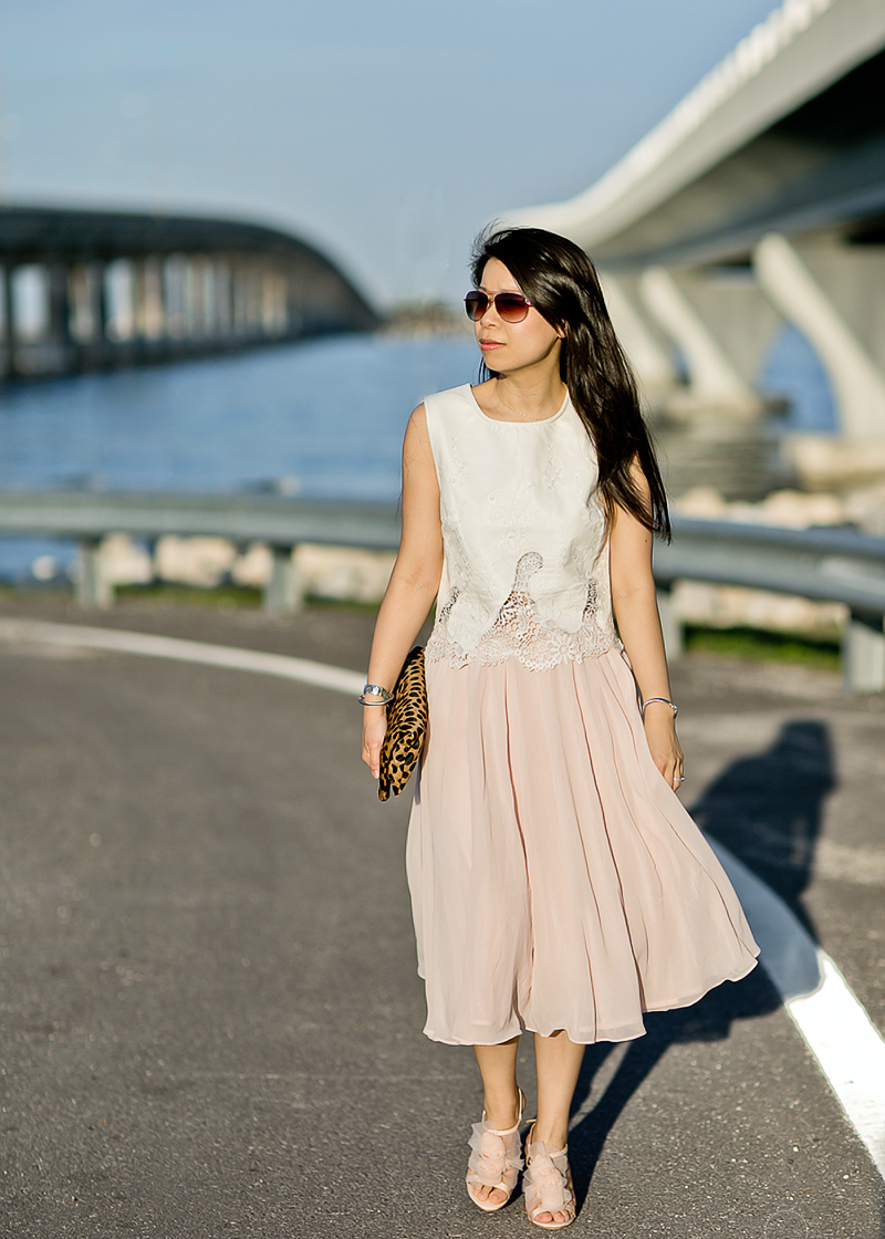 LaBelleMel-Airy-Leather-Lace-Blush-Calf-Length-Skirt-1