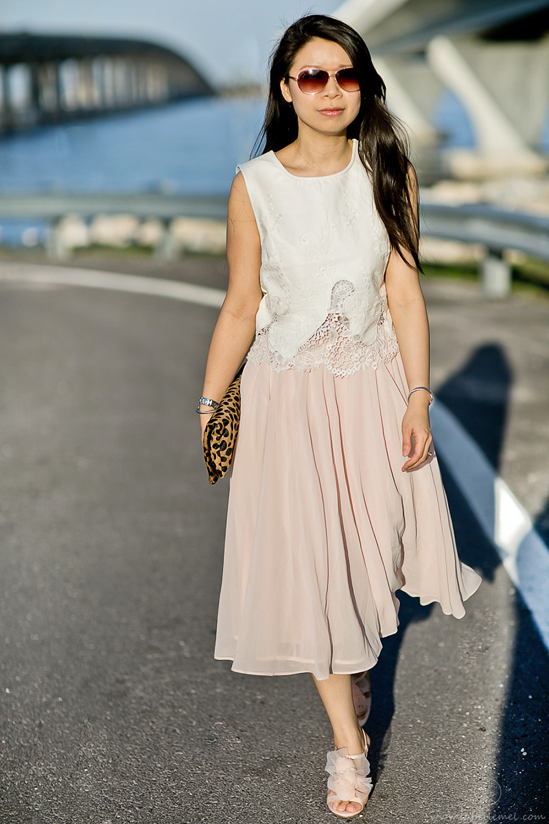 LaBelleMel-Airy-Leather-Lace-Blush-Calf-Length-Skirt-2
