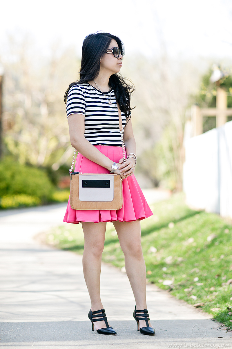 LaBelleMel-Garden-Stroll-B&W-Stripes-Hot-Pink-Scuba-Skirt-1