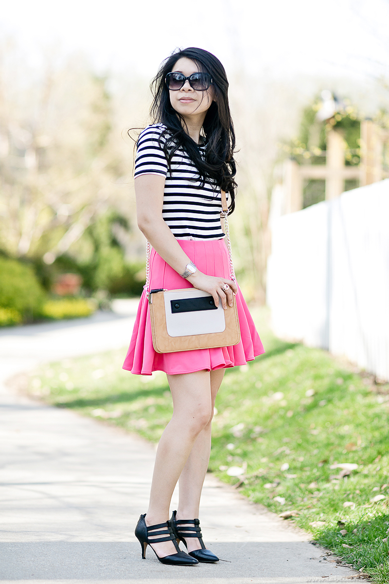 LaBelleMel-Garden-Stroll-B&W-Stripes-Hot-Pink-Scuba-Skirt-2