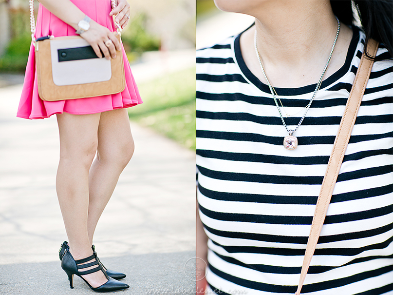 LaBelleMel-Garden-Stroll-B&W-Stripes-Hot-Pink-Scuba-Skirt-3