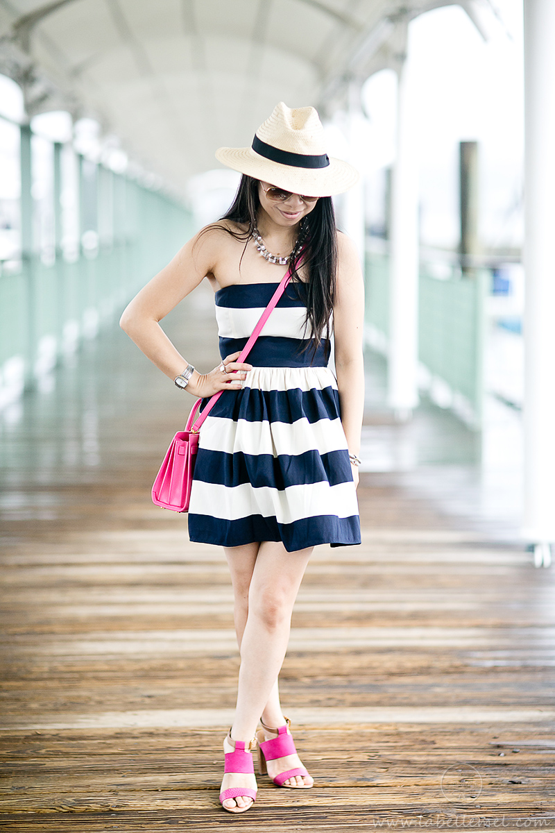 LaBelleMel_Navy_Bold_Stripe_Summer_Dress_Pink_Accents_1