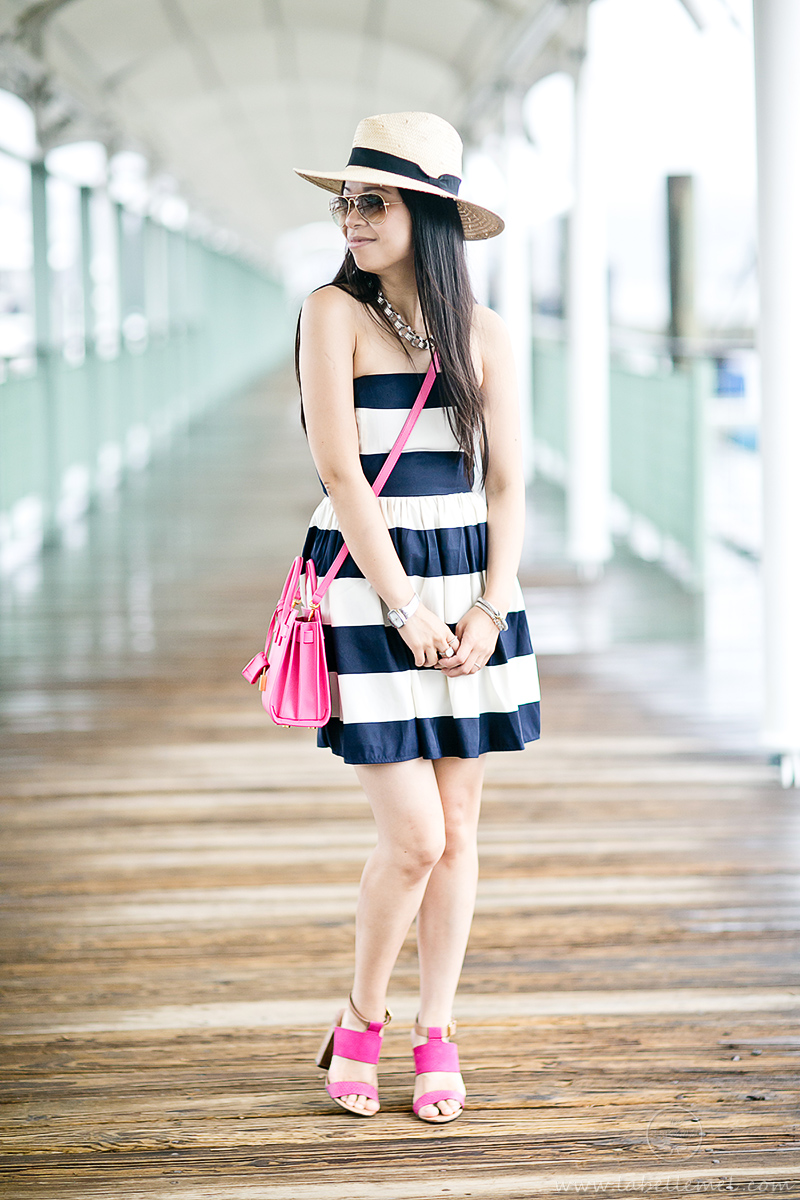 LaBelleMel_Navy_Bold_Stripe_Summer_Dress_Pink_Accents_2
