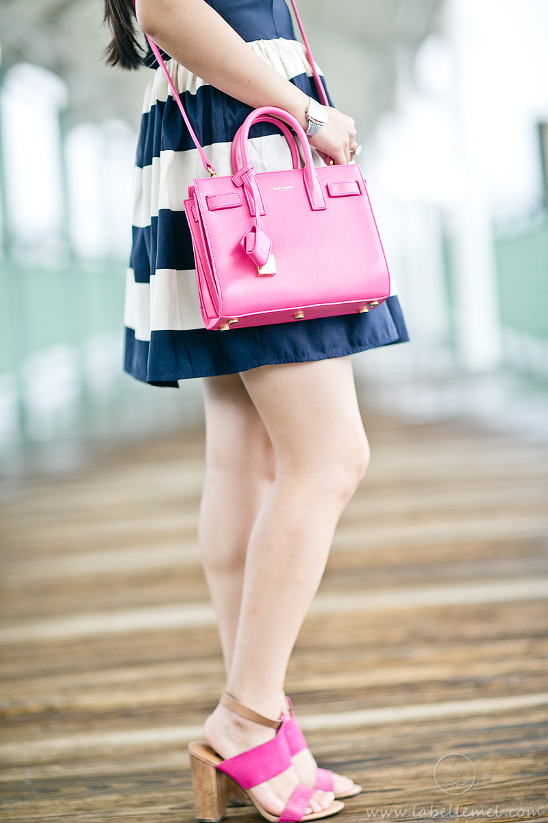 LaBelleMel_Navy_Bold_Stripe_Summer_Dress_Pink_Accents_3