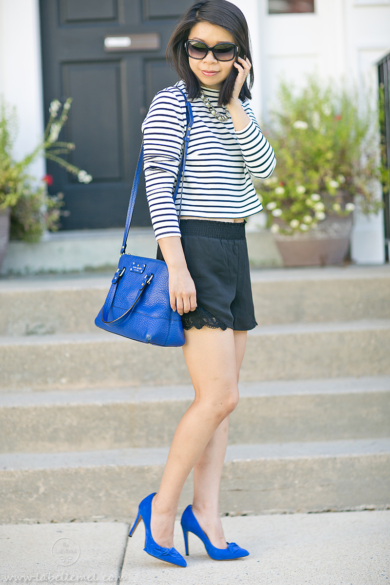 LaBelleMel_Black_Blue_Cropped_Striped_Top_Lace_Shorts_2