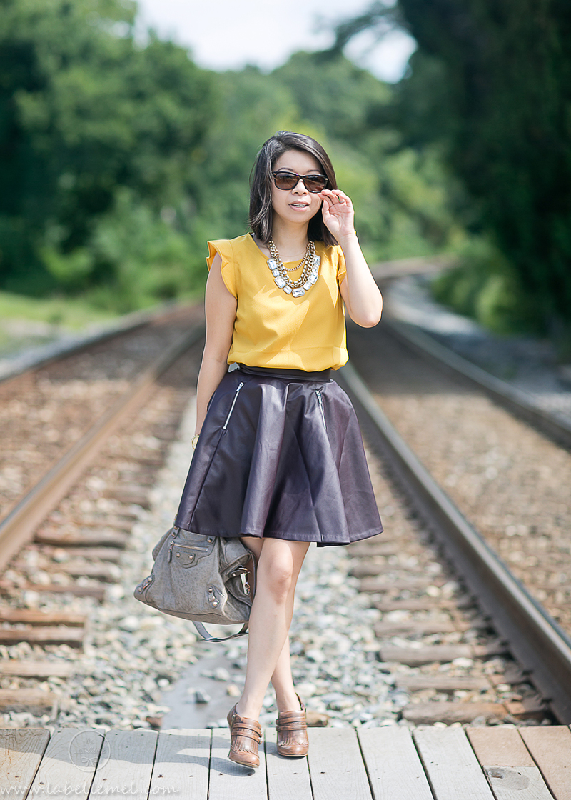 LaBelleMel_Marigold_Blouse_Purple_Pleather_Skirt_1