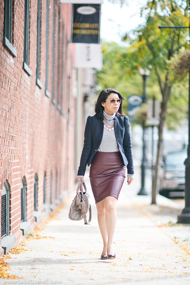 LaBelleMel_Workwear_Wednesday_Navy_Blazer_Burgundy_Pleather_Pencil_Skirt_2