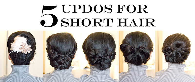 How-To Tutorial | 5 No-Heat Updo Hairstyles for Short Hair - LaBelleMel
