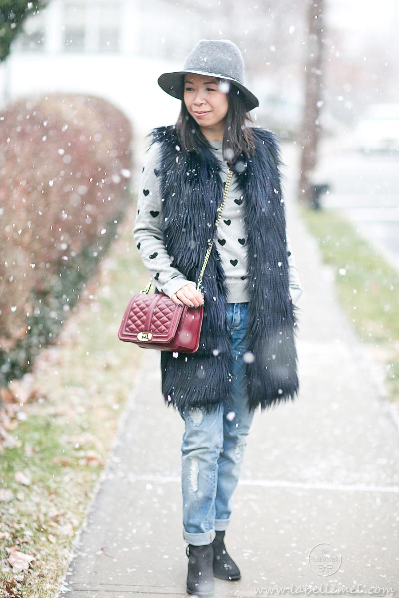 LaBelleMel_Winter_Casual_Faux_Fur_Vest_Boyfriend_Jeans_1