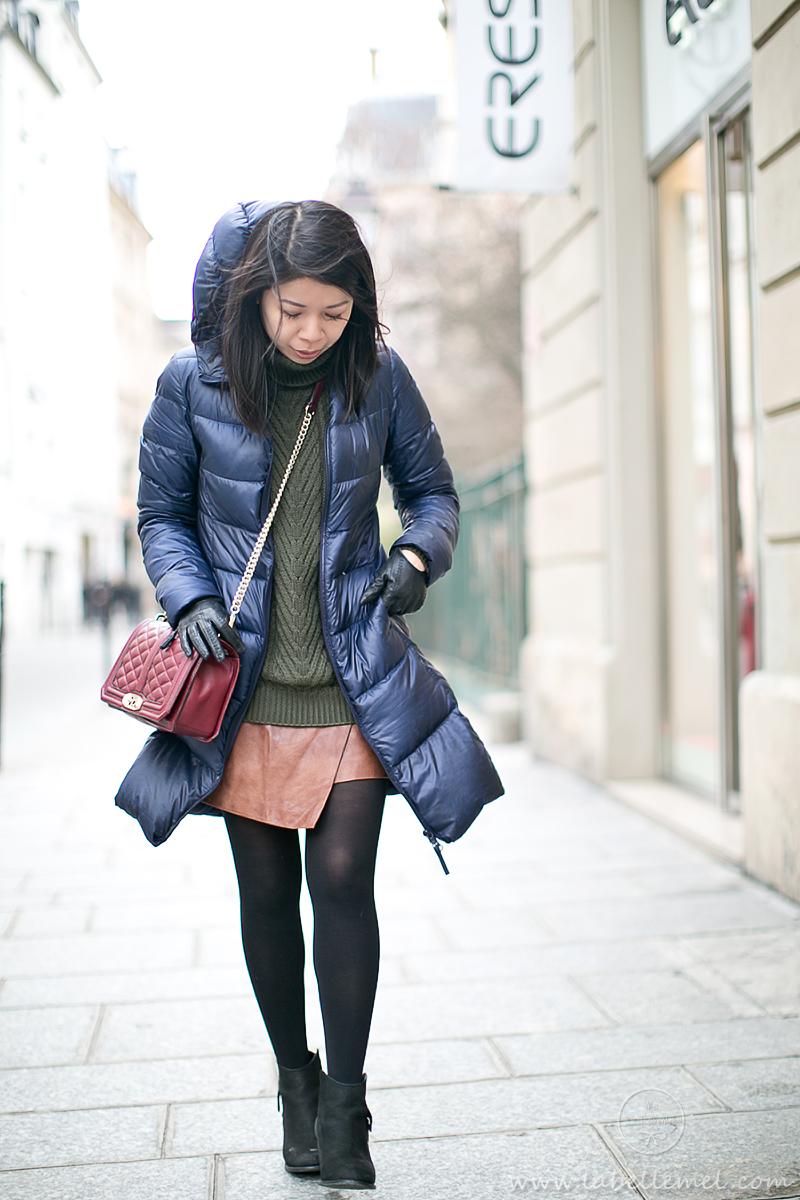 LaBelleMel_Paris_Winter_Hunter_Green_Sweater_Asymmetrical_Skirt_1