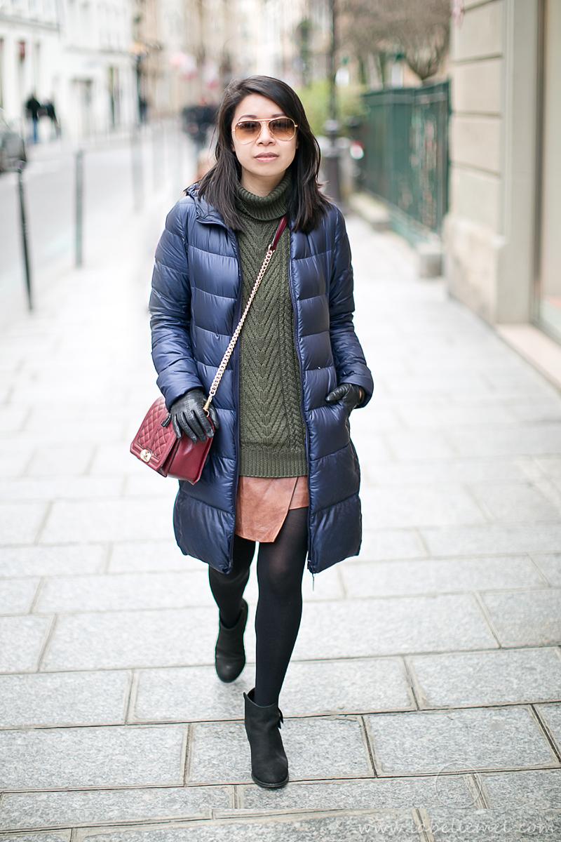 LaBelleMel_Paris_Winter_Hunter_Green_Sweater_Asymmetrical_Skirt_2