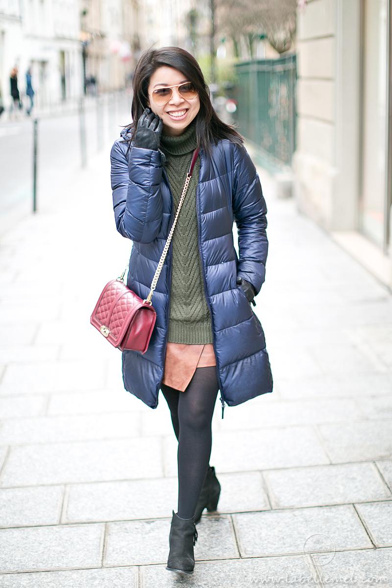 LaBelleMel_Paris_Winter_Hunter_Green_Sweater_Asymmetrical_Skirt_3
